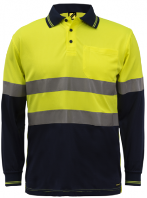 WORKCRAFT HI VIS TAPED L/S POLO